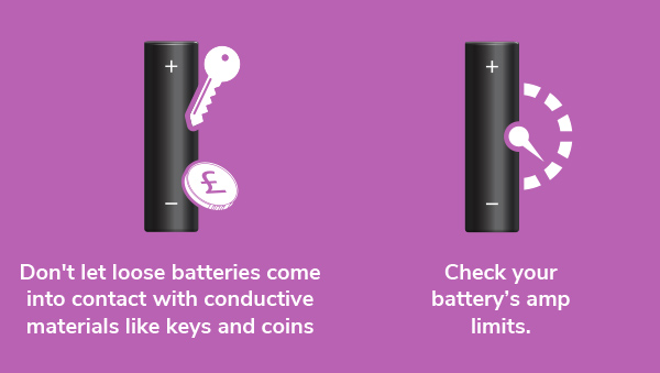 Don't let loose batteries come into contact with conductive materials
