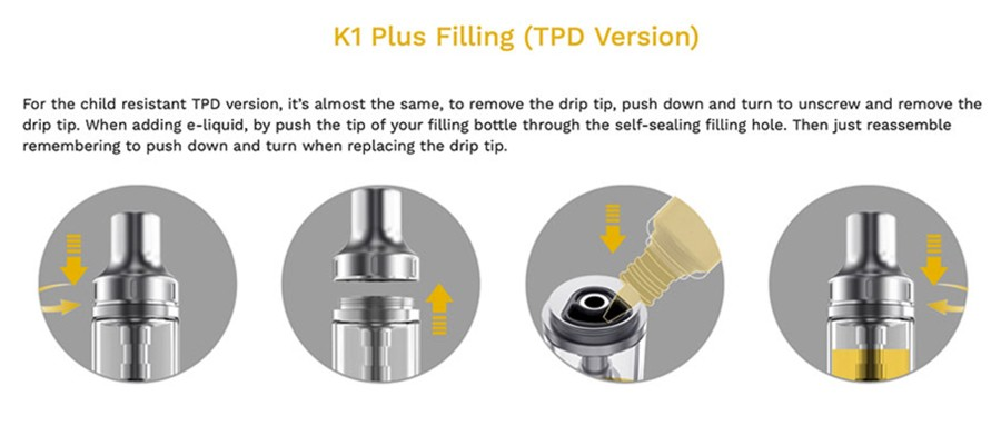 The K1 Plus tank features a threaded mouthpiece top cap, which is removed to refill the tank with e-liquid.