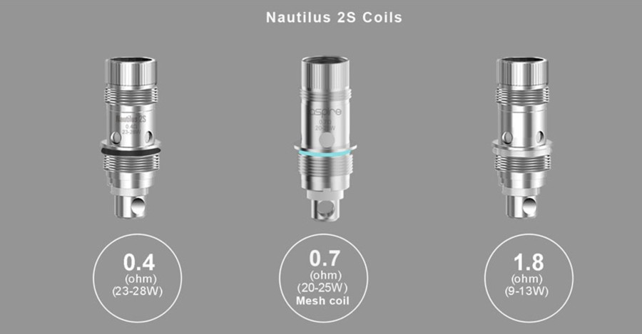 The Nautilus utilises three separate coil types, including a 0.4 Ohm and 0.7 Ohm mesh coil option for sub ohm vaping.