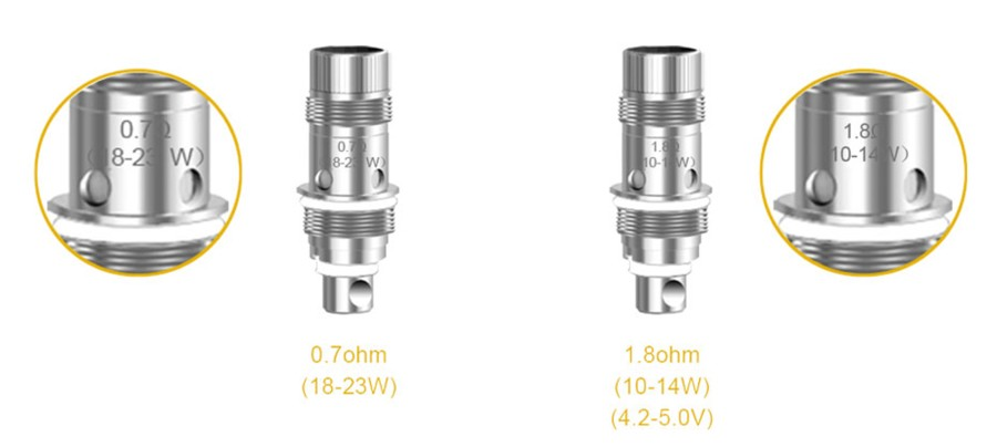 The Nautilus 2 vape tank is compatible with two separate coil types, a 0.7 Ohm and a 1.8 Ohm variant to suit your vaping style.