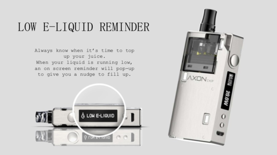 The Degree kit features a low e-liquid warning, so you know when to top up with e-liquid.