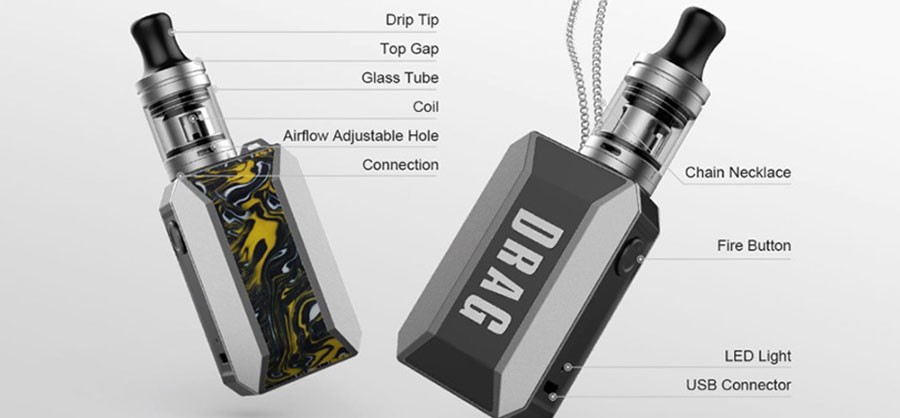 The Drag Baby Trio features 1500mAh built-in battery and comes with Trio 2ml vape tank.