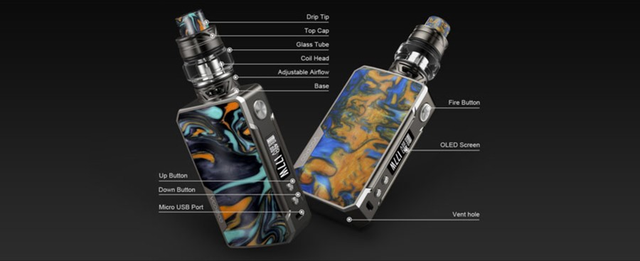 The Voopoo Drag 2 Platinum vape kit is an advanced sub ohm kit which includes the 2ml Uforce T2 tank.