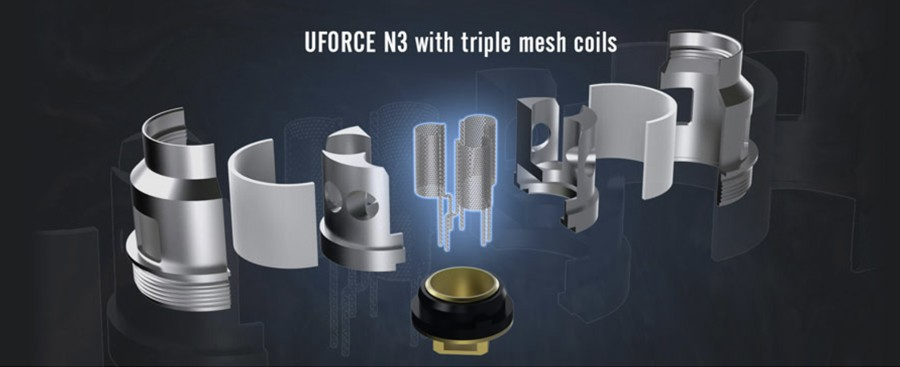 The Uforce T2 vape tank employs the Uforce N3 triple mesh coils for increased cloud production and flavour.