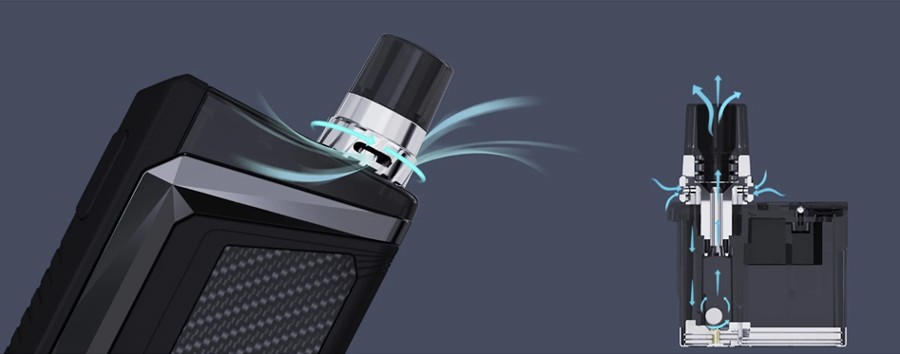Use the adjustable airflow on top of each Wismec Preva pod to control your inhale and vapour flow.