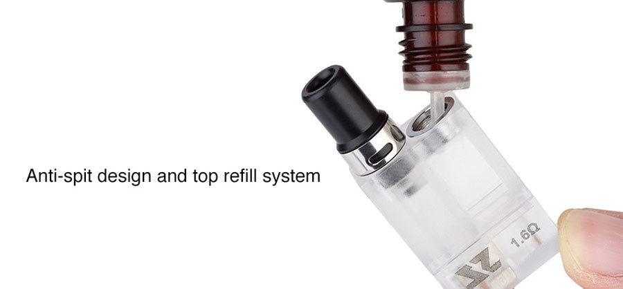 The Zeltu 2ml pods feature an anti-spit design and can be refilled using the threaded top fill cap.