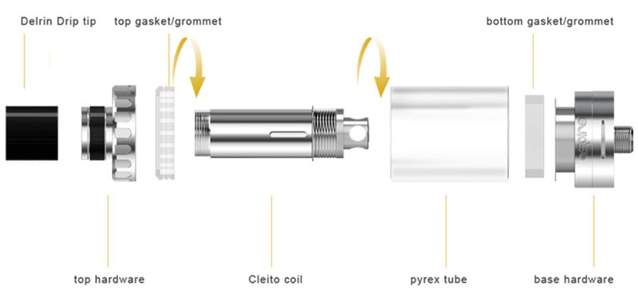 The Aspire Cleito is a 2ml sub ohm vape tank with an elegant design and high performance.