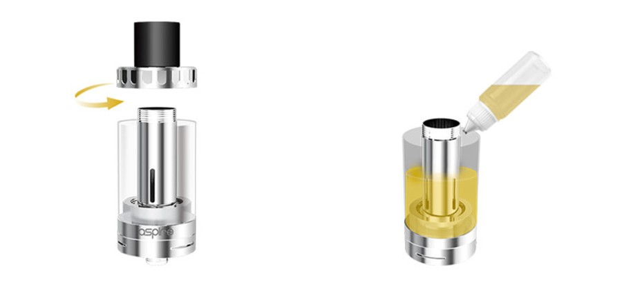 The Cleito sub ohm tank features a threaded top fill cap for an easy refill process.