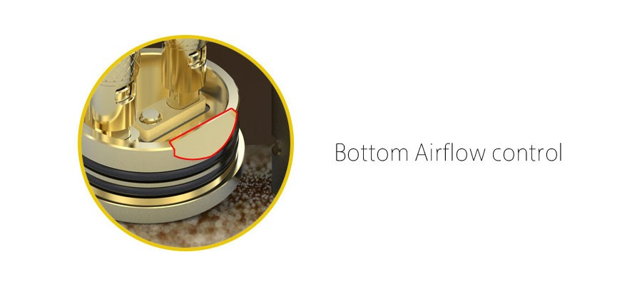 The Combo 25mm RDA features dual adjustable bottom airflow control as well as downward venting to reduce leakage.