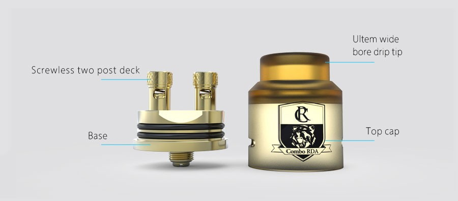 The iJoy Combo is a 25mm RDA which features a screwless post deck for mounting coils of all types.