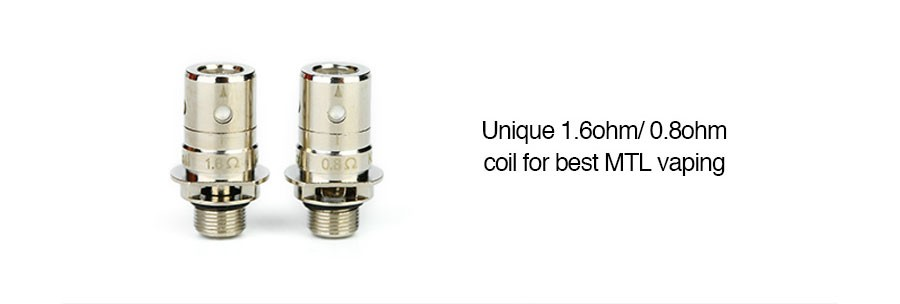The Innokin Zenith 2ml tank is compatible with two separate Zenith replacement coil variants, a 0.8 Ohm and a 1.6 Ohm.