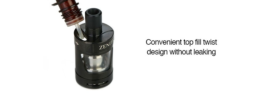 The Zenith 2 2ml vape tank features a twisting top fill cap which reduces leaking.