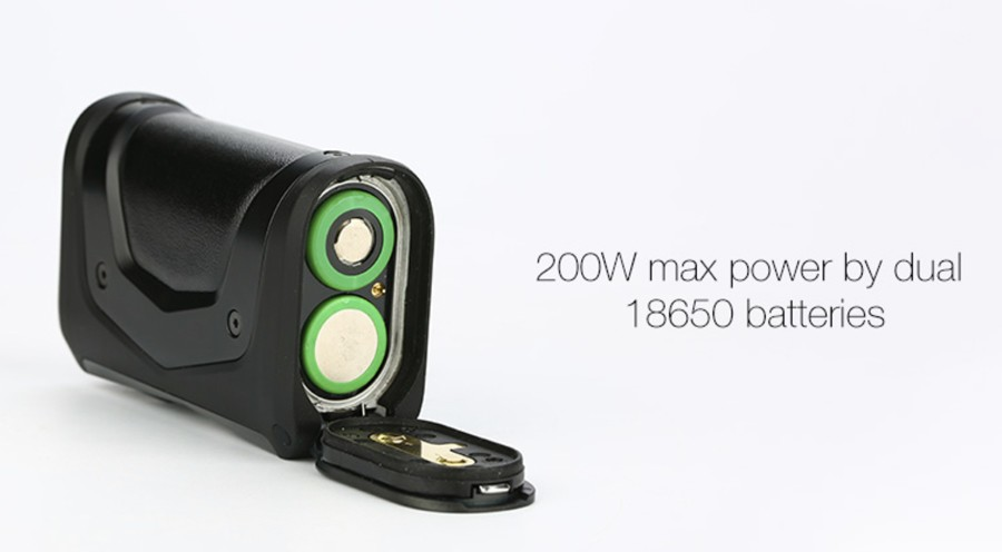 The Geekvape Aegis X is powered by dual 18650 batteries and features a 200W max output.