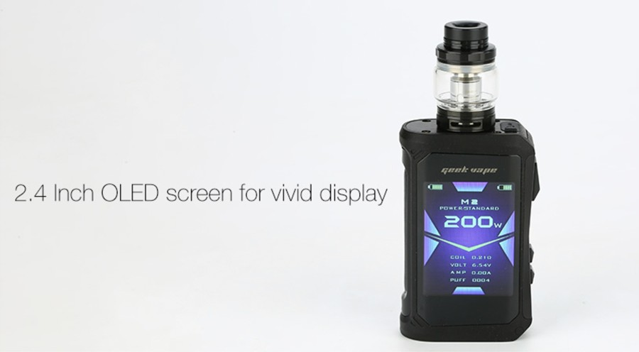 The Aegis X features a 2.4 Inch OLED screen which displays output modes and vaping data.