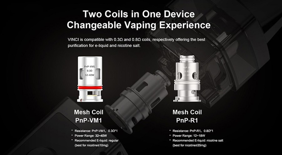 the PnP-VM1 coils offer bigger clouds and higher wattage vaping, the PnP-R1 coil is ideal for discrete cloud production at lower wattages.