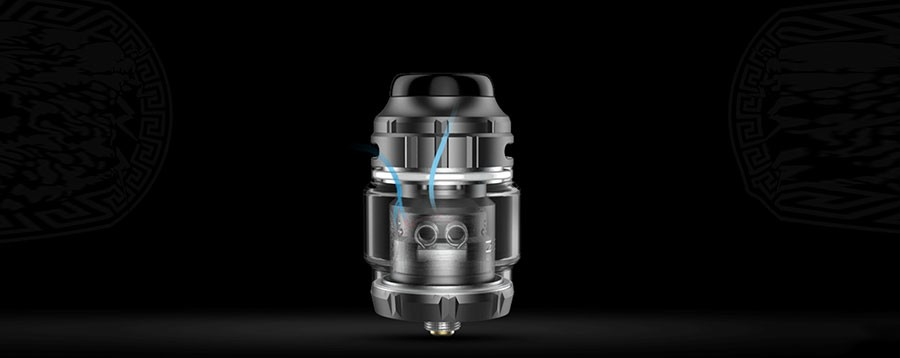 The Zeus X RTA features adjustable top airflow which reduces spitback and gives control over inhalation.