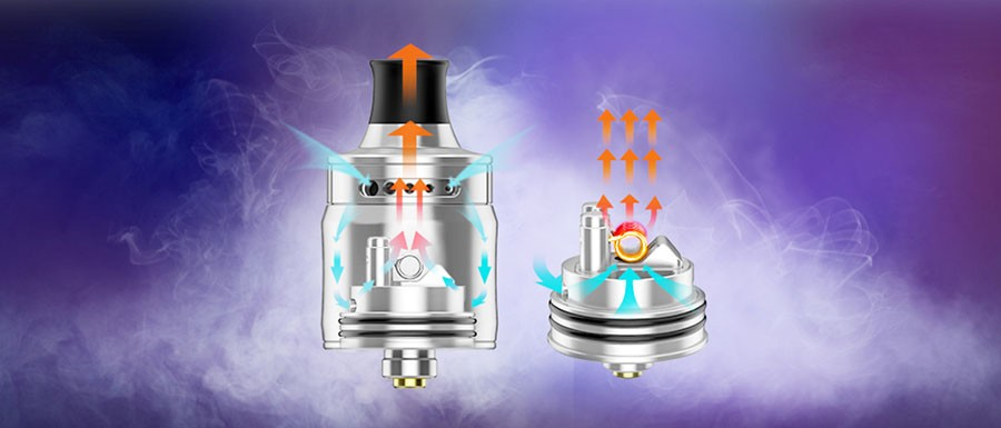 The 22mm Ammit features a top adjustable airflow which gives users full control over their inhale.