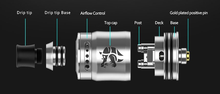 The Geekvape Ammit is a 22mm RDA designed for MTL vaping and supports single coil builds.