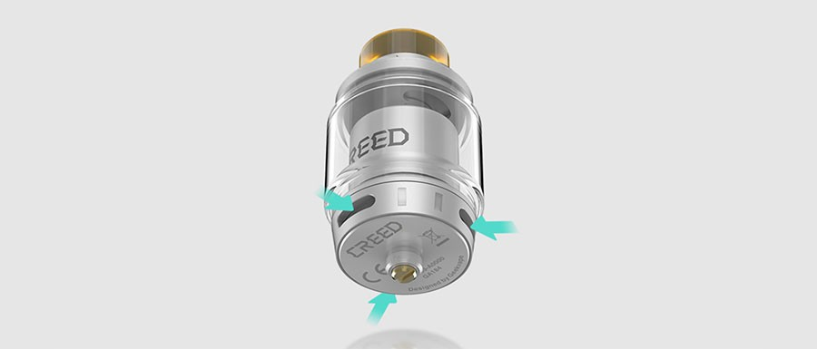 The Creed 25mm RTA features a triple adjustable airflow for full control over inhalation.