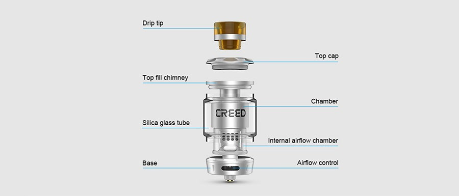 The Geekvape Creed is a 25mm RTA with a classic Velocity style build deck and is compatible with single and dual coil builds.