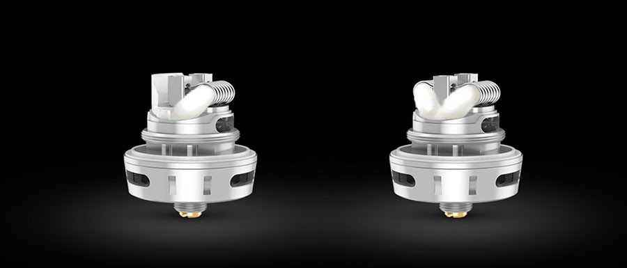 The Creed RTA can be altered for compatibility with single and dual coil builds.