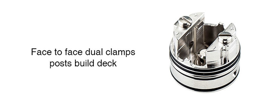 The 24mm Anglo features a face to face dual post deck to mount single and dual coils with ease.