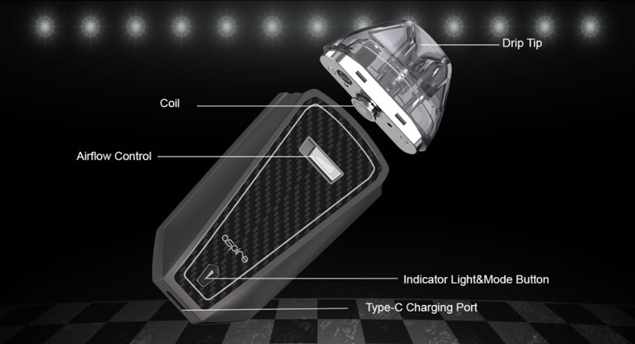 The Aspire AVP Pro pod kit features a discreet, pocket-friendly design, powered by a 1200mAh built-in battery.