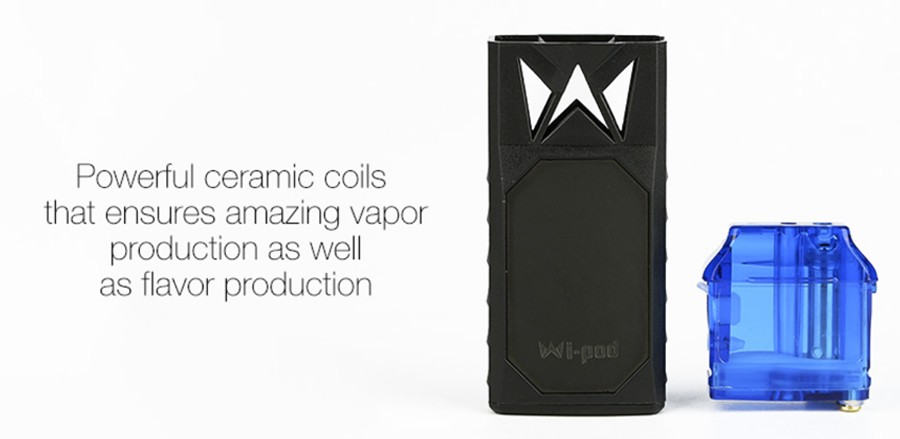 The Wi-Pod X is powered by a 1.5 Ohm ceramic coil which offers a balance between cloud and production whilst being long-lasting.