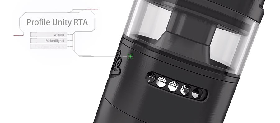 The 2ml Profile Unity RTA features dual adjustable airflow with air slots providing a breezy inhale or a tighter restricted draw.