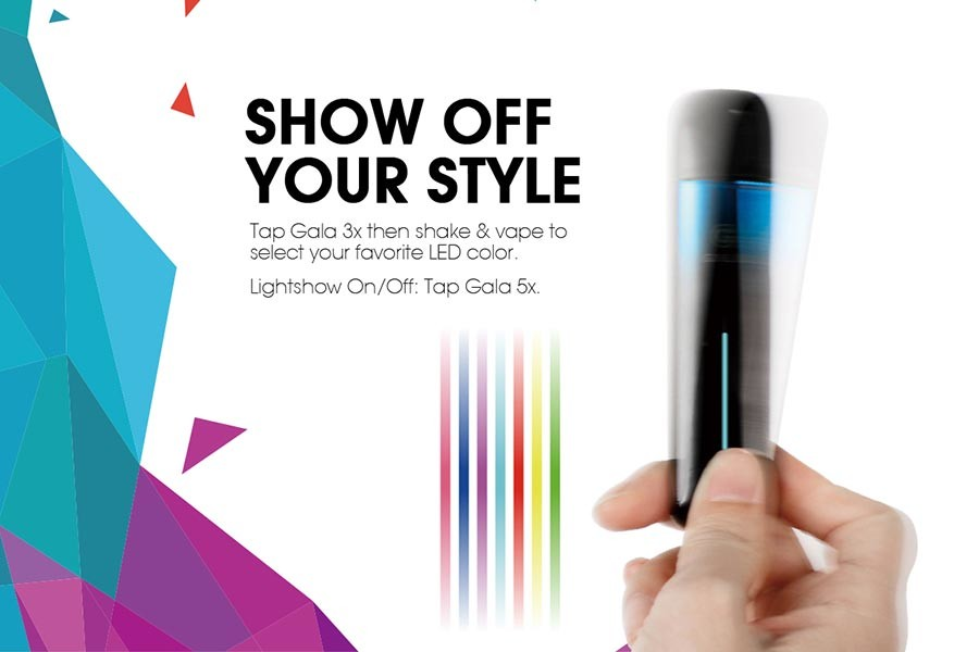 Innokin Gala light show features - shake your kit to change LED colour