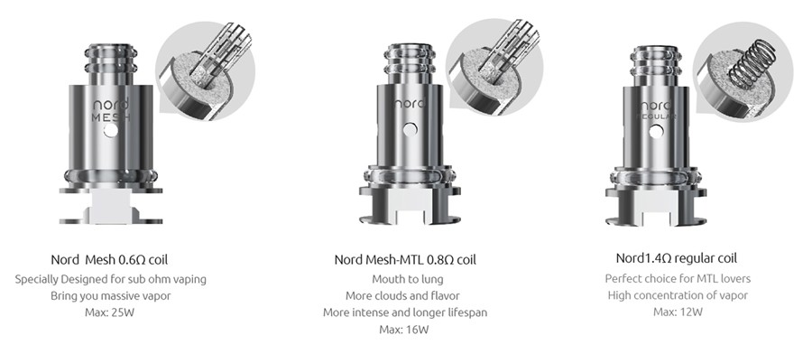 The Smok Nord vape coils are available in a range of resistances and build types