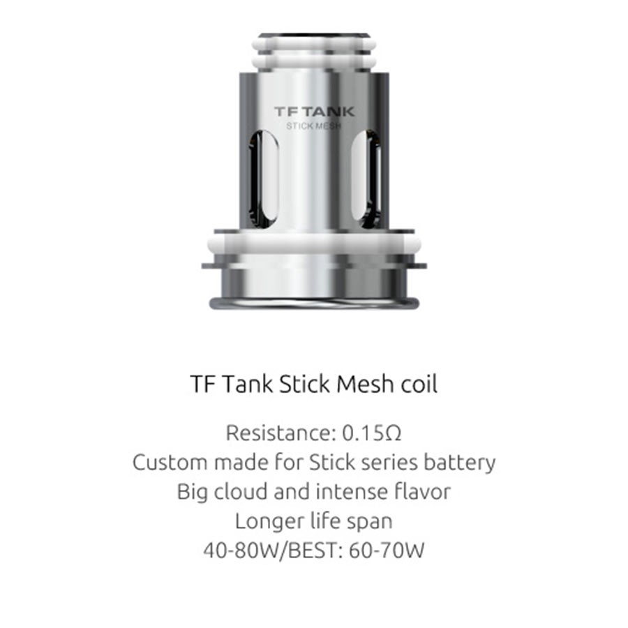 This Smok tank uses TF Stick Mesh coils, for better flavour and increased vapour production