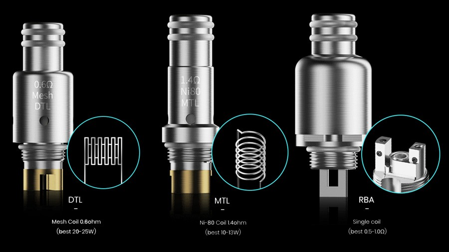 The Smoant Pasito employs a 0.6 Ohm DTL coil, a 1.4 Ohm MTL mesh coil as well as a single coil RBA to create your perfect vape.