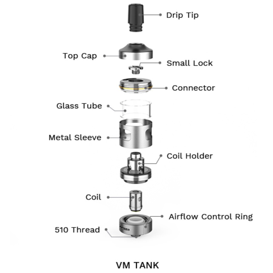 The VM vape tank features top filling and adjustable airflow