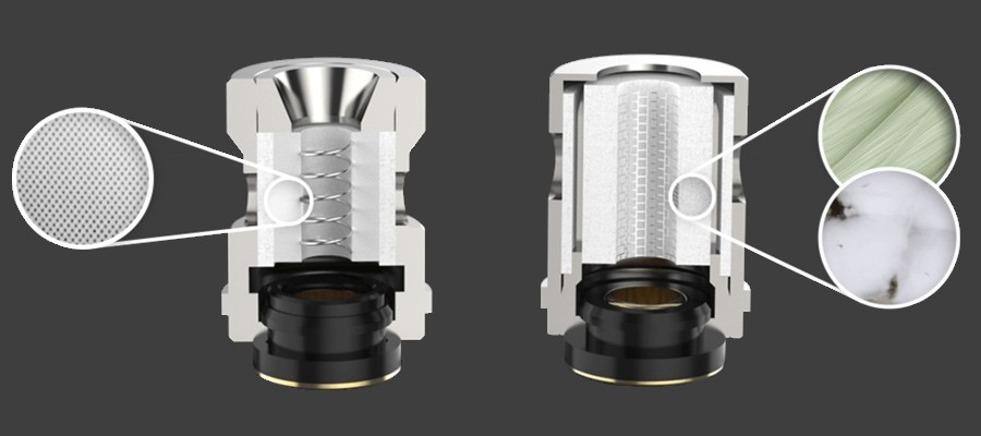 The Target Mini 2 kit uses 1.0 Ohm ceramic or 0.6 Ohm mesh coils