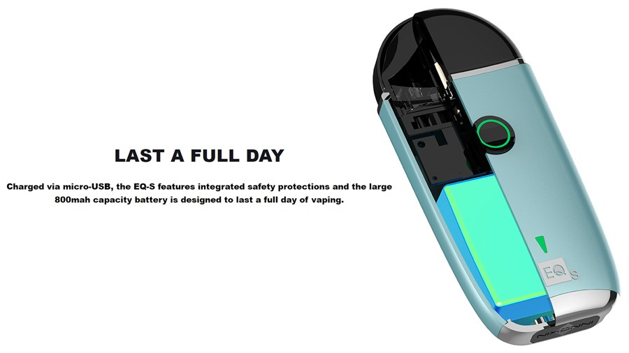 A large capacity 800mAh battery allows for a full day of charge from the Innokin EQ-S.