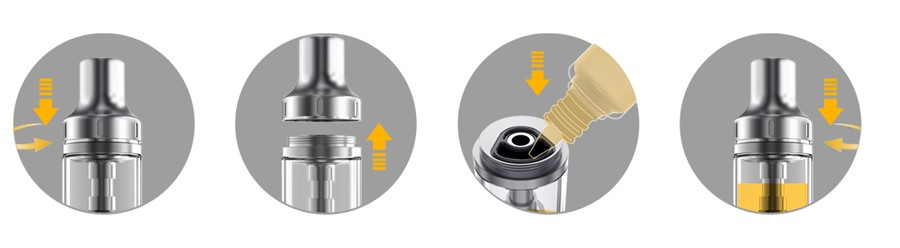 The Aspire K1 Stealth kit provides a simple refill method with a removable drip tip.