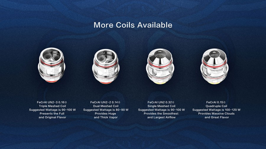 The Uwell Valyrian 2 coils are all designed for sub ohm vaping and should be paired with high VG e-liquids.