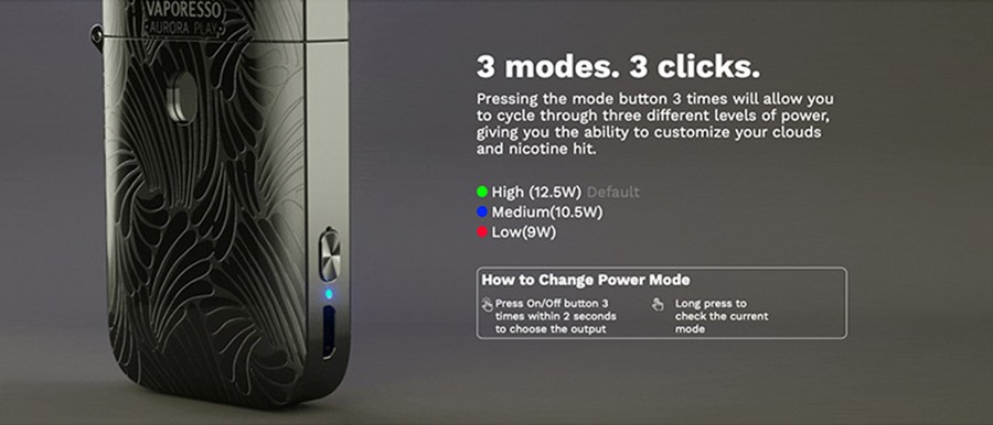 The Vaporesso Play pod starter kit can be used up to 13W, with the three selectable power modes.