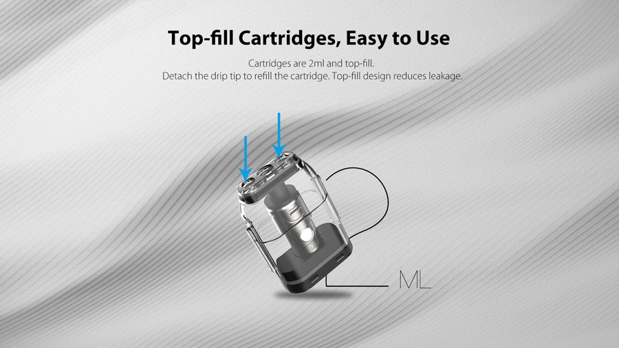 The Caliburn pods feature a 2ml e-liquid capacity with a top fill design.