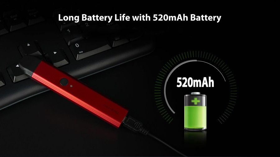 A 520mAh built-in battery provides a consistently high performance.