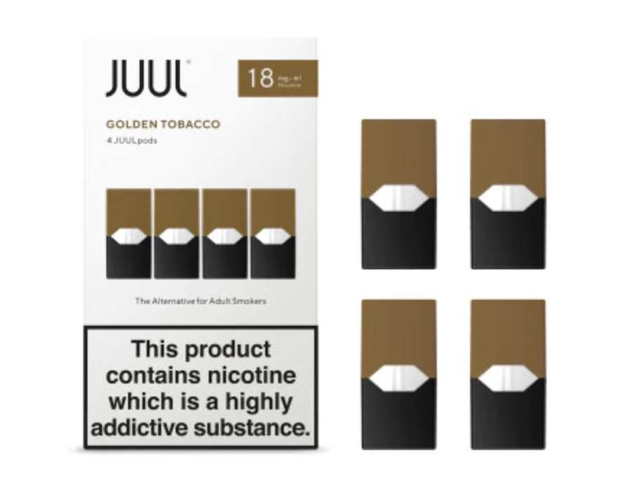 The JUUL replacement pods are available separately in four packs, with a choice of nicotine strengths.