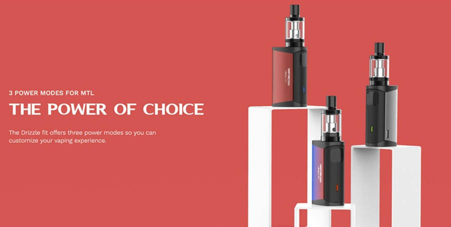 The Vaporesso Drizzle Fit features three power output modes: 10W, 8.4W, 7W.
