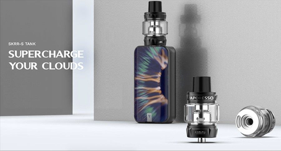 The 2ml Vaporesso SKRR tank comes included in the kit, featuring a Quadflow Air Distribution System.
