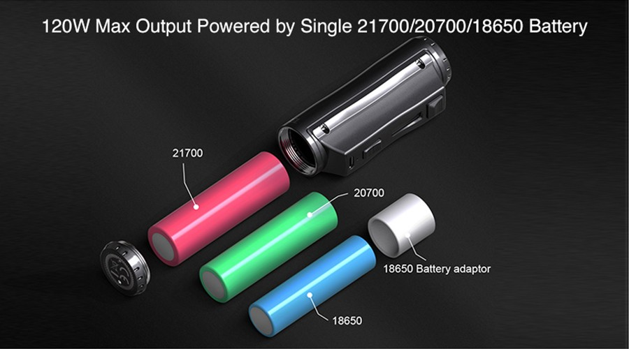The EhPro Cold Steel can be powered by an 18650 vape battery, 20700 vape battery or 21700 vape battery.
