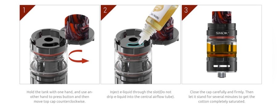 Easy to refill the TFV Mini V2 vape tank features top filling