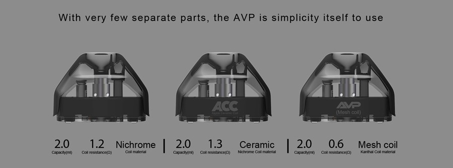 The Aspire refillable AVP pods will hold 2ml of e-liquid and produce discreet amounts of vapour