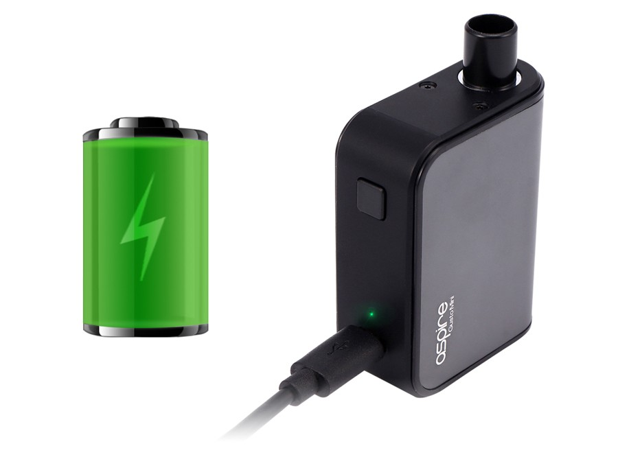 The Gusto starter kit uses a 900mAh built-in rechargeable battery