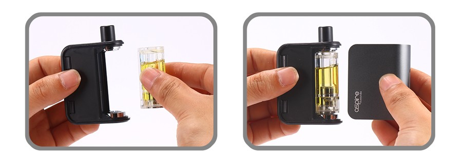 The Gusto prefilled e-liquid pods fit securely into the device and can be removed when empty