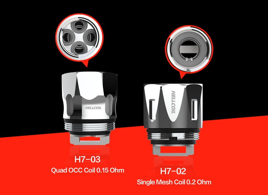 The HellVape H7-02 and H7-03 replacement coils are designed for sub ohm vaping